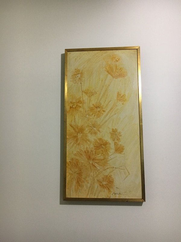 brown wooden framed painting of white petaled flowers