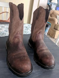 pair of brown leather R-toe cowboy boots 840 mi