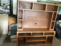 brown wooden TV hutch with cabinet Livingston Manor