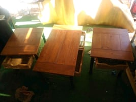 Coffee table end table set with wicker drawers
