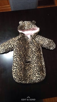 toddler's brown and black leopard printed jumpsuit