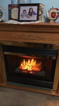Brown wooden framed electric fireplace Lakemoor, 60051