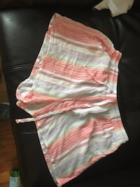 white, pink, and yellow striped shorts New York, 10009