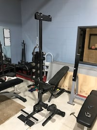Bench and lay pull down attachment weight lifting home gym cardio