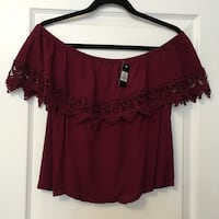 (New with tags!) Urban Planet Crochet Lace Off-The-Shoulder Red Wine Shirt Vaughan, L6A 4E9
