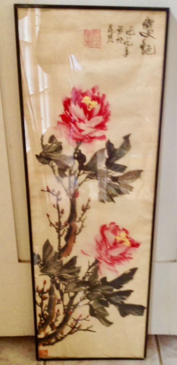Water color brown wooden framed painting of white and red flower