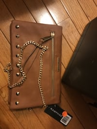 Brown leather studded crossbody bag WORCESTER