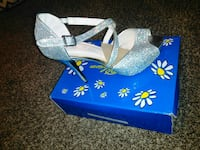 unpaired gray glittered peep-toe ankle-strap platform stiletto with box Roswell, 88203