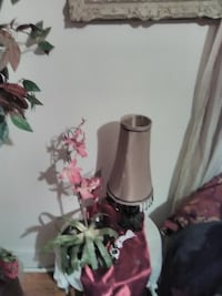 pink orchid and brown table lamp