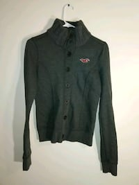 Womans gray cardigan sweater Hollister size small button up turtleneck