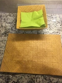 Bamboo placemats & napkin holder