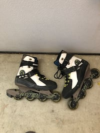 Pair of black-and-white inline skates