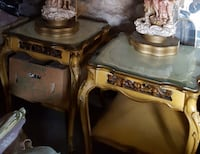 PAIR VINTAGE LEATHER TOPPED END TABLES  REDUCED  Havertown