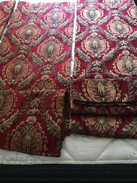 4 curtains Red and brown floral textile Raleigh, 27603