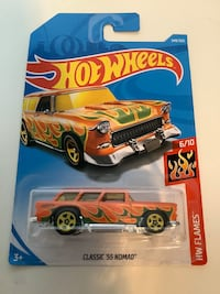 Hot wheels classic chevrolet chevy 1955 nomad diecast car flames