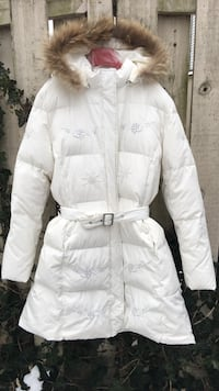 Beautiful down female size xl winter coat removable hood with real fur trim and beaded decoration