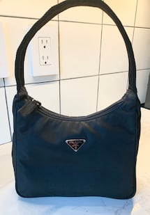 PRADA Black Nylon Mini Tessuto Hobo Shoulder Bag