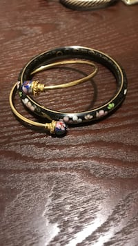 Two gold and Black Chinese colored floral bangles Asheville, 28806