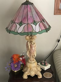 2 table lamps hand done stained glass shades heavy ceramic base Nobleton