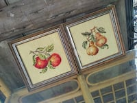 Pair of vintage needlepoint fruit, framed Jefferson, 70121