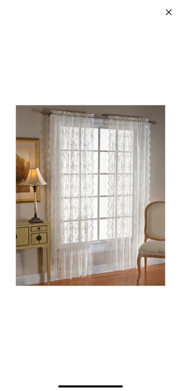 "4 sheer lace look curtains 63"" 2eb2ffee-298b-4b3a-9965-7c2601354ec4"