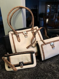 white and black leather tote bag St. Clair, N0N 1H0