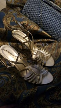 Gold open toe heels in size 7