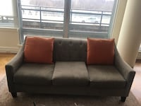 Microfiber tan color sofa . Very comfortable and easy to clean. No tear or spot.