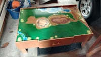 rectangle green, brown, and blue activity table