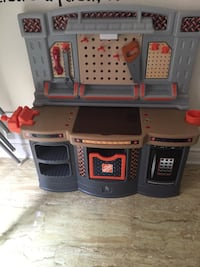 Home Depot kids work station with tools.
