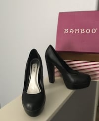 Bamboo - Black Creeper Chunky Pump - Size 6.5