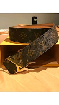 black and brown Louis Vuitton Monogram leather belt with box