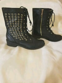 Black & Gold Riveted Ankle Boots  Mansfield