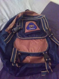 brown and blue backpack