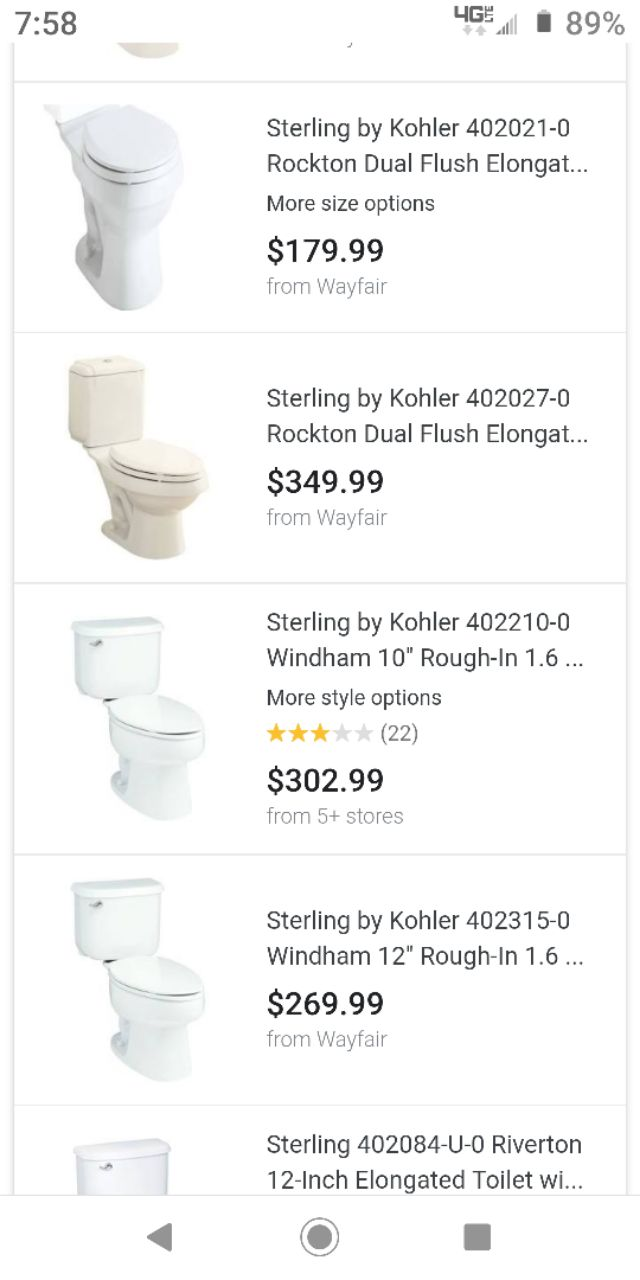 STERLING 402315-0 Windham 12-Inch Rough-in Elongated Toilet White