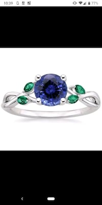 18k white gold sapphire ring with emerald accents  Bradford West Gwillimbury, L3Z 1R9