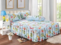 INSTOCK 700treadcount White, green, and red floral skirting bedsheet