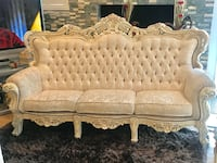 3 piece Antique couch set with foot stool ,table , lamp and mirror Temple City, 91780
