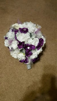 white and purple floral bouquet.
