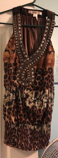 Brown and black leopard sleeveless dress