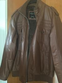 brown leather zip-up jacket Muskegon Heights, 49444