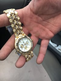 round gold-colored chronograph watch with link bracelet Fort Worth, 76119
