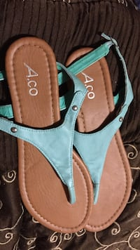 pair of brown-and-white leather sandals Windsor, N9C 1R3