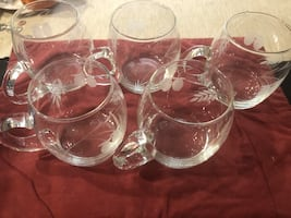 Set of 5 crystal glass mugs never used! Perfect for cocktails