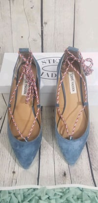 Blue suede lace up flats