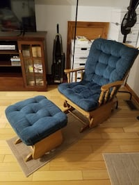 two tufted blue suede padded brown wooden armchair Stephens City, 22655