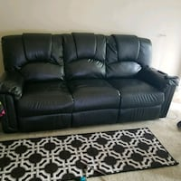 black leather 3-seat recliner sofa 15 mi