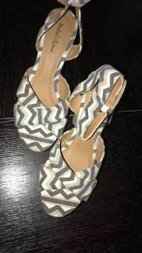 Women's pair of white-and-grey chevron open-toe ankle-strap heels sandals Collingdale, 19023