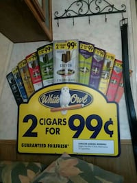 White Owl 2 cigars for 99 poster and two black leather belts Abilene