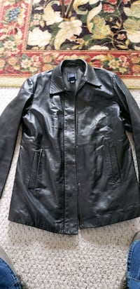 Black leather large coat